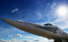 Picture The sun, Swan, The plane, Light, USSR, Russia, Nose, Aviation, MiG, BBC, Bomber, Fighters, Tupolev, …