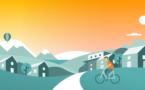 Picture summer, the city, street, figure, vector, cyclist