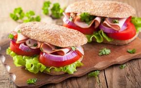 Picture greens, bow, tomato, salad, ham, buterbrodi