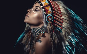 Picture woman, feathers, tattoo, cosplay, American aborigine