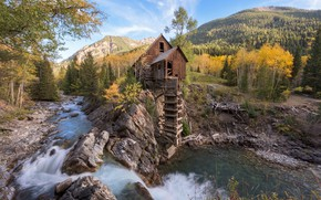 Picture forest, mountains, river, mill, Crystal Mill