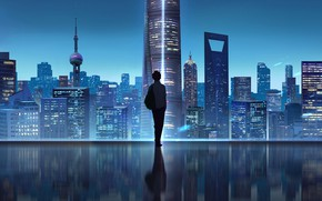 Picture China, Shanghai, City, Art, Night, Man, Skyscrapers, Architecture, Coordinate of Shanghai, Shawn Lee