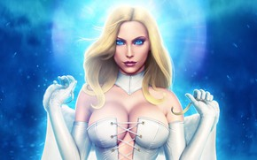 Picture look, girl, blue eyes, Emma Frost