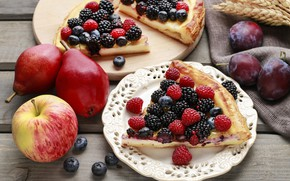 Picture berries, apples, food, pie, cinnamon, cakes, vanilla