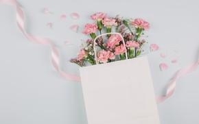 Picture bouquet, tape, pink, clove, gypsophila, of limonium