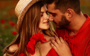 Picture girl, flowers, nature, Maki, kiss, hat, makeup, dress, hairstyle, pair, male, brown hair, guy, two, …