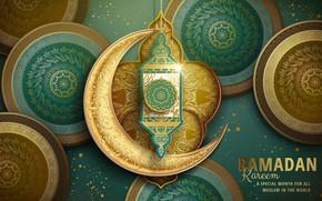 Wallpaper religion, flashlight, Ramadan, circles, patterns, a month