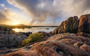 Picture sunset, lake, stones, rocks, the evening, AZ, USA, Prescott, Granite Dells, Willow Lake