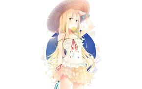 Picture girl, background, straw hat, lemon slice