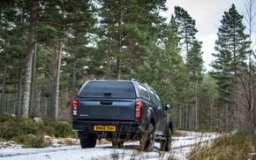 Picture road, forest, snow, pickup, 2018, Isuzu, Huntsman, D-Max, UK version