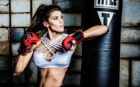 Picture brunette, gloves, martial arts, training, hit