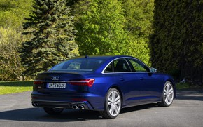 Picture Audi, Parking, back, sedan, dark blue, Audi A6, 2019, Audi S6