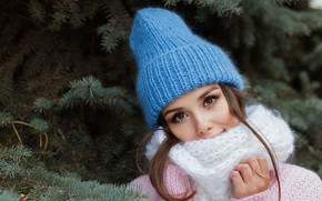 Picture winter, girl, hat, tree, scarf