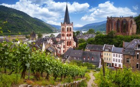 Picture mountains, the city, river, home, Germany, valley, the vineyards, Rhine, Bacharach