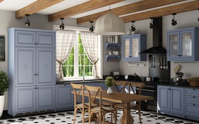 Picture interior, kitchen, dining room