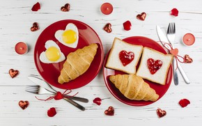 Picture love, roses, Breakfast, hearts, love, romantic, hearts, valentine, croissants, growing, breakfast, petals, roses