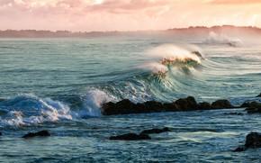 Picture sea, wave, clouds, light, stones, the ocean, shore, surf, haze