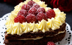 Picture berries, raspberry, cake, cream, sweet, Valentine's Day, cakes, sweets