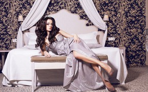 Picture look, girl, pose, hair, bed, makeup, dress, hairstyle, shoes, legs, beauty
