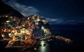 Picture sea, the sky, clouds, night, lights, rocks, coast, home, stars, Italy, Italy, Manarola, Manarola, Cinque …