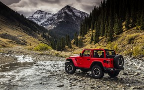Picture water, trees, red, stones, 2018, Jeep, Wrangler Rubicon