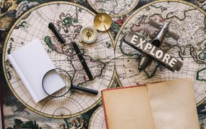 Picture map, Notepad, the plane, magnifier, journey, compass