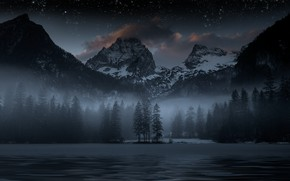 Picture forest, the sky, stars, mountains, night, lake