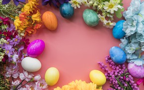 Picture flowers, eggs, colorful, Easter, happy, wood, flowers, eggs, easter, decoration