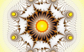 Picture pattern, fractal, the sun, yellow