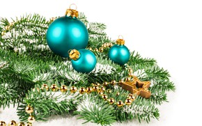 Picture branches, balls, new year, ate, beads, decoration, Anya Ivanova