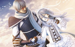 Picture girl, anime, art, guy, two, hack//SIGN