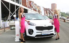 Picture look, Girls, KIA, smile, beautiful girls, white car, posing over the car