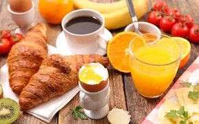 Picture coffee, food, Breakfast, cheese, juice, croissants