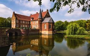 Picture water, trees, bridge, reflection, castle, Germany, Germany, ditch, Havixbeck, Castle Hulshoff, Havixbeck, Hülshoff Castle