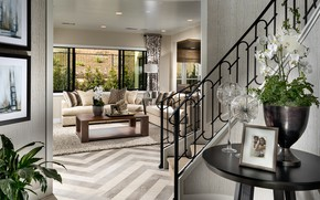 Picture interior, ladder, Arlington, living room, spanish entry