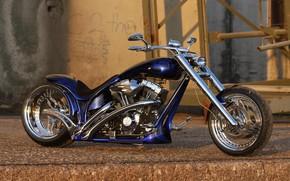 Picture Harley Davidson, Bike, Harley-Davidson, Custom, Thunderbike, By Thunderbike, Blue Flames