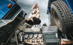 Picture girl, pose, engine, truck, legs, Anton Kharisov