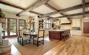 Picture interior, kitchen, dining room, rustic farmhouse, country style, fermerski house