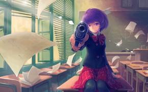 Picture Girl, Purple, Gun, Eyes, Seifuku