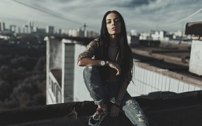 Picture look, girl, pose, watch, jeans, long hair, sneakers, on the roof, Belavin, Alexander Belavin