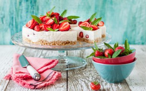 Picture strawberry, mint, cheese, cheesecake