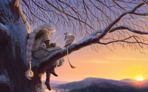 Picture winter, girl, sunset, fantasy, Griffin