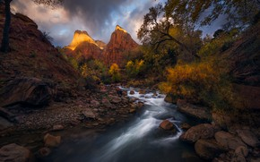 Picture the sky, water, mountains, nature, river, stones, rocks, stream