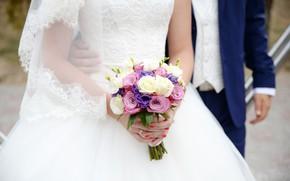 Picture roses, bouquet, dress, the bride, wedding