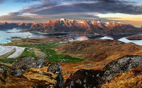 Picture sea, the sky, the sun, clouds, mountains, stones, rocks, height, Norway, panorama, Bay, The Lofoten …
