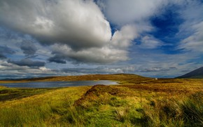 Picture field, autumn, the sky, grass, clouds, blue, hills, shore, England, spring, meadow, pond