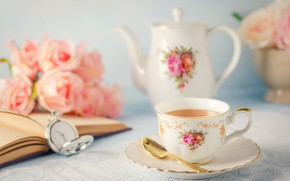 Picture roses, bouquet, kettle, Cup, book, tea fragrant
