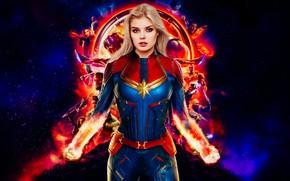 Picture girl, model, fantasy, art, hero, blonde, costume, beautiful, superhero, cosplay, fiction