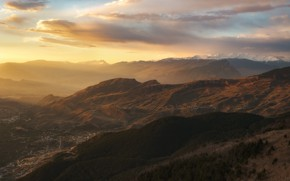 Picture Home, The evening, Mountains, Road, The slopes, Ranges, Tiers, Spurs