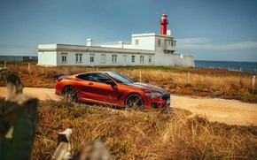 Picture coast, the building, coupe, BMW, Coupe, 2018, 8-Series, dark orange, M850i xDrive, Eight, G15